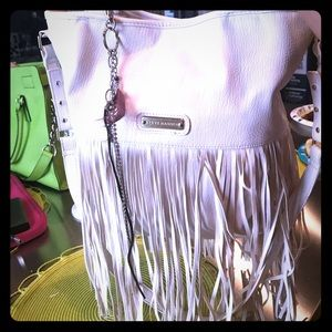 Steve Madden white fringe handbag satchel bag